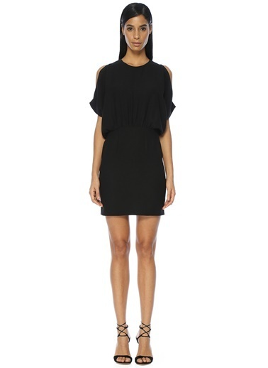 Academia Yarasa Kollu Mini Elbise Siyah